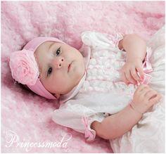(EM-16) Stirnband in edlem ROSA mit Netz - Princessmoda - Alles für Taufe Kommunion und festliche Anlässe