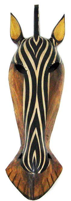 Zeckos African Jungle Zebra Mask Wall Hanging Africa Decor for sale online Arte Tribal, Tribal Art, Zebra Mask, Tiger Mask, Africa Decor, Afrique Art, Art Premier, Art Sculpture, Animal Masks