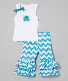 Love this White Tank & Turquoise Zigzag Pants - Infant, Toddler & Girls on #zulily! #zulilyfinds