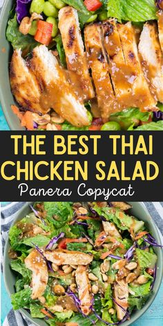 Spicy Thai Salad with Chicken is a Panera favorite you can make at home now! This delicious Thai Chili Vinaigrette peanut sauce is the star of this salad and it will become your new favorite dressing! Thai Salads, Dinner Salads, Easy Salads, Asian Recipes, Beef Recipes, Thai Chicken Recipes, Copycat Recipes, Fresh Salad Recipes, Healthy Salad Recipes