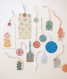 "Hand-stamped Gift Tags, featured in ""Making an Impression"" by Geninne Zlatkis Perfect for summer weddings, birthdays, and all-around pretty gift giving!"