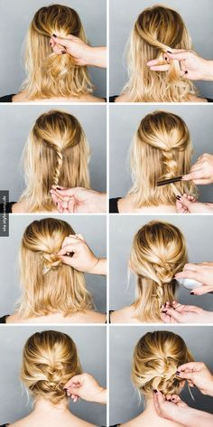 Easy Formal Hairstyles For Short Hair - Hair Styles Formal Hairstyles For Short Hair, Short Hair Ponytail, No Heat Hairstyles, Short Hair Styles Easy, Holiday Hairstyles, Medium Hair Styles, Pretty Hairstyles, Messy Updo, Braided Updo