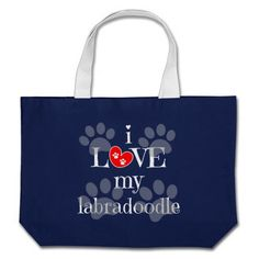 i LOVE my labradoodle, paw prints/red heart on navy; Share your love of labradoodles with this cute red, white & blue jumbo tote bag