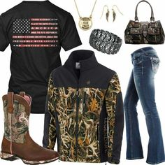 Pledge of Allegiance Camo Jacket Outfit - Real Country Ladies Country Girl Outfits, Country Wear, Country Girl Style, Country Fashion, Country Girls, My Style, Country Girl Clothes, Country Hats, Farm Clothes