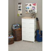 Found it at Wayfair - Premium Drawer Storage Series High Grade 5 Drawer Chest in White with Natural Wood Top