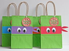 Your place to buy and sell all things handmade Ninja Turtles Party Favor Bags - Ninja Turtles Goody Bags - TMNT Birthday Party Bags<br> 3rd Birthday Party For Boy, Turtle Birthday Parties, Monster High Birthday, Ninja Turtle Birthday, Carnival Birthday, Birthday Cakes, Ninja Turtle Party, Ninja Turtles, Ninja Party