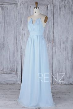 Bridesmaid Dress Light Blue Chiffon Wedding DressHalter