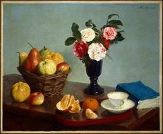 """Henri Fantin-Latour (1836-1904) was a French painter and lithographer best known for his flower paintings and group portraits of Parisian artists and writers. ~  """"Still Life"""""""