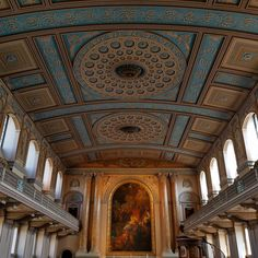 Amazing blues, yellows and peaches in Chapel of St Peter and St Paul, Greenwich, ceiling Visit Britain, Lake District, Peaches, Blues, Old Things, Ceiling, Amazing, Instagram Posts, Ceilings