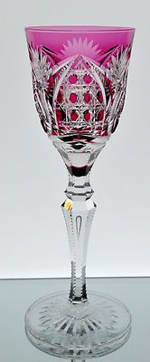 Val St Lambert Cranberry Red Cut to Clear Crystal Wine Goblet Glass Signed | 16600