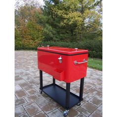 Oakland Living Steel Red Patio Cooler Cart provides cold, convenient storage for your favorite canned and bottled drinks. Cooler Cart, Patio Cooler, Outdoor Cooler, Outdoor Seating, Outdoor Ideas, Outdoor Toys, Outdoor Decor, Patio Gift Ideas, Pool Ideas