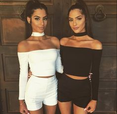 $19.99 Sleeved Off Shoulder Choker Crop Top