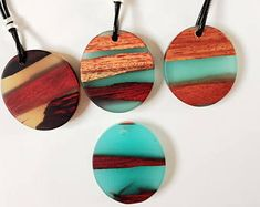 Resin Wood Necklace, Epoxy Resin, Mom gift, Wood Resin Jewelry, Resin Jewelry, Wood Necklace, Wood and Resin, Wood Jewelry, Handmade Jewelry