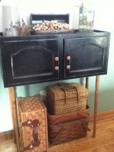 Wine bar, made out of a cupboard that I pulled out of a neighbor's trash!