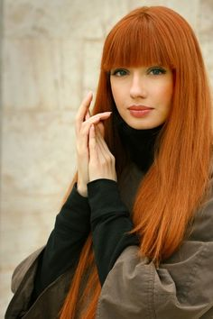 Full bangs, Ginger, and long! Just perfect!