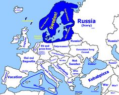 Map of Europe (and part of Asia) from a Swedish perspective