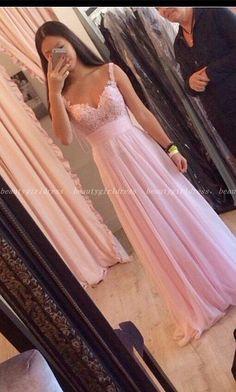 Pink Prom Dress,Chiffon Prom Dress,Long Evening Dress,Prom Dress with Lace…
