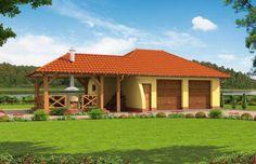 Projekt domu energooszczędnego G54 garaż dwustanowiskowy z pomieszczeniem gospodarczym i składem na drewno kominkowe Gazebo, Cottage, Outdoor Structures, Cabin, House Styles, Outdoor Decor, Garage Ideas, Studio, Home Decor