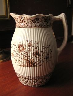 BROWN TRANSFERWARE PITCHER Vintage by antiqueandvintagetoo on Etsy