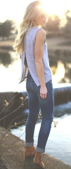 Boots/Skinnies/Open-back Tank