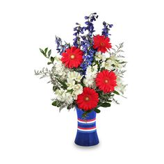 RED, WHITE & BEAUTIFUL Bouquet Of Flowers ❤ liked on Polyvore featuring decor, flowers, floral and patriotic