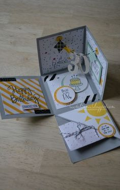 Birthday surprise box ideas stampin up 44 ideas - sunny - Birthday&Gifts Creative Birthday Cards, Handmade Birthday Cards, Creative Box, Diy Gift Box, Diy Gifts, Party Gifts, Birthday Explosion Box, Scrapbook Box, Handmade Scrapbook