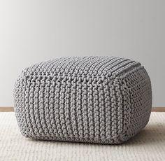Knit Cotton Square Pouf