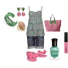 Pink & Green, created by juliemboltz on Polyvore