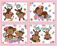 MONKEY NURSERY PRINTS Wall Art Girl Jungle Safari Animal Floral Room Decor Baby Shower Gift Hanging Kids Swinging Vine Monkey Decorations #decampstudios