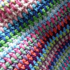"Different colors, same patternn as ""Lavender Fields"" hdc ch 1 pattern."