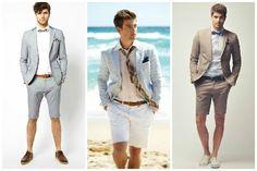 Tenues du marié avec bermuda. De gauche à droite : photos vues sur blushmagazine.ca, weddingomania.com, feedly.com