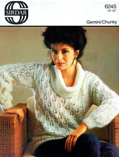 Items similar to PDF Vintage Womens Ladies Knitting Pattern Summer Sirdar 6245 Elegant Leaf Cowl Neck Sweater Glamour Pin Up City Chic Romantic on Etsy Roll Neck Sweater, Lace Sweater, Men Sweater, Knit Sweaters, Vintage Knitting, Vintage Crochet, Sweater Knitting Patterns, Crochet Patterns, Retro Outfits