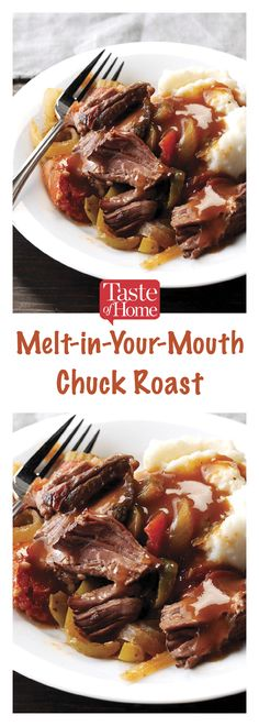 "Melt-in-Your-Mouth Chuck Roast Recipe -""My husband and I like well-seasoned foods, so this recipe is terrific."" You'll also love how flavorful and tender this comforting roast turns out. Chuck Roast Recipe Oven, Chuck Steak Recipes, Beef Chuck Roast, Roast Beef Recipes, Meat Recipes, Slow Cooker Recipes, Crockpot Recipes, Cooking Recipes, Chuck Roast In Crockpot"