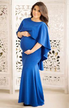 Maternity Dress With Cape Royal Blue Photography Photoshoot Pregnancy Photo Shoot Wedding Open Back Long Maxi by BellaMaternity on Etsy https://www.etsy.com/listing/290616399/maternity-dress-with-cape-royal-blue