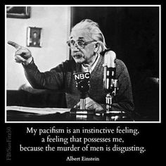 My pacifism is an instinctive feeling, a feeling that possesses me, because the murder of men is disgusting. - Albert Einstein