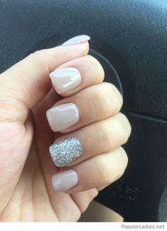 My sweet and simple nails, a little glitter, please #SilverGlitter