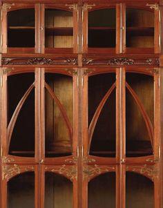 Hector Guimard - Art Nouveau - Bibliothèque Vitrine -  Eucalyptus et Cuivre - Vers 1900
