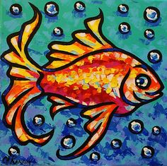 Original Abstract Painting Animal Ocean Gold Fish Sea Water Fantasy Art by CH K | eBay