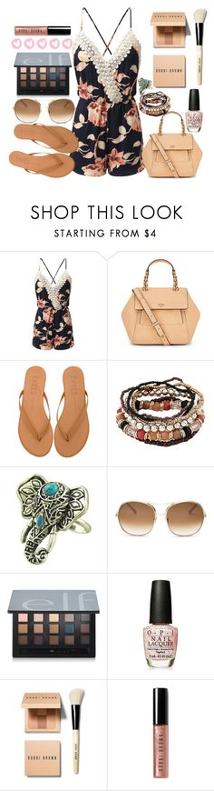 """beachy romper"" by pocketfullofglitter ❤ liked on Polyvore featuring Doublju, Tory Burch, Tkees, Chloé, OPI and Bobbi Brown Cosmetics"