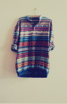 shirt clothes stripes casual cool comfy blouse colorful patterns tumblr aztec hipster sweater high low 3/4 sleeves colorful love tribal pattern rolled sleeves oversized sweater fall sweater fall outfits pattern aztec sweater cozy cozy sweater vintage large t-shirt color/pattern hoodie patterned sweater long sleeves
