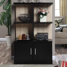 The weathered white back on this Convenience Concepts Key West Console Bookcase with Cabinet makes its black shelves seem to float. Key West Weather, Console, Home Bar Cabinet, 4 Shelf Bookcase, Bookcases, Contemporary Bookcase, Modern Bookcase, Black Shelves, Storage Cabinets