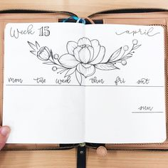 Bullet journal weekly layout, flower drawing, bounce lettering. | @allorasbujo