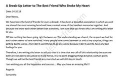 A beautiful Break up Letter to Best Friend to ends friendship. Write a perfect goodbye letter to best friend to end this relationship in a mature way. Friendship Letter, End Of Friendship, Friendship Breakup, Broken Friendship, Goodbye Letter To Friend, Letter To Best Friend, Breakup Humor, Breakup Quotes, Informal Letter Writing