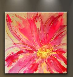 Oil Painting Abstract Modern Art on Canvas Home Wall Decor Large 30' Pink Flower