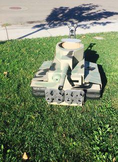 Tank Costume stroller for my Son Brycen Conor. Cardboard box.