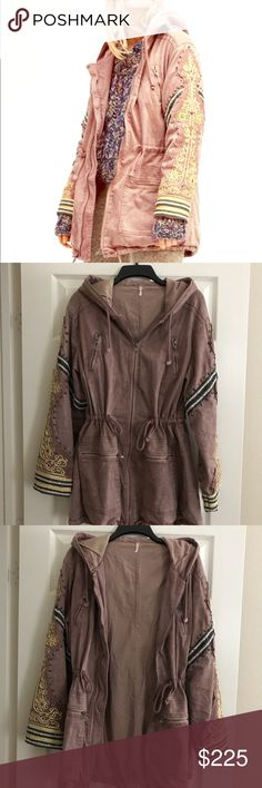 NWOT free people golden quills military parka new without tag Gold size M