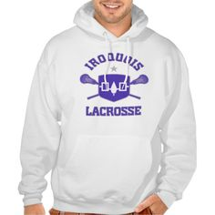 Iroquois Lacrosse Hooded Sweatshirt. Flag shield design with crossed sticks.