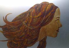 HAAR - Yvon Feenstra ong. 5*60 cm, applicatie van gebrandschilderd glas kijk voor meer info: www.glassbyyvon.com