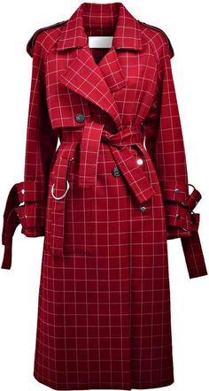 Jamie Wei Huang Checked Trench In Red Coat Outfit, Coat Dress, Tartan Fashion, Fashion Outfits, Iranian Women Fashion, Chic Winter Outfits, Trench Coats, Black Wool Coat, Indian Designer Outfits