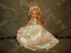 "NASB NANCY ANN Storybook Doll #186 Sunday's Child ~ 5-1/2"" Bisque Doll ~ White Satin / Pink Trim Dress and Bonnet by PastPossessionsOnly on Etsy"